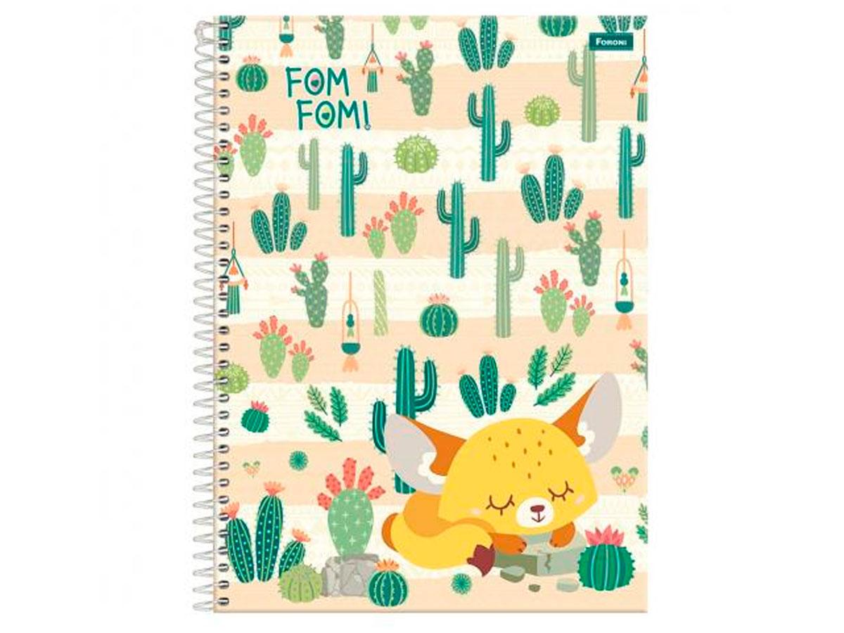 Caderno Espiral 1x1 Capa Dura Fom Fom, 80 Fls. Pct. C/4 Unidades - Foroni