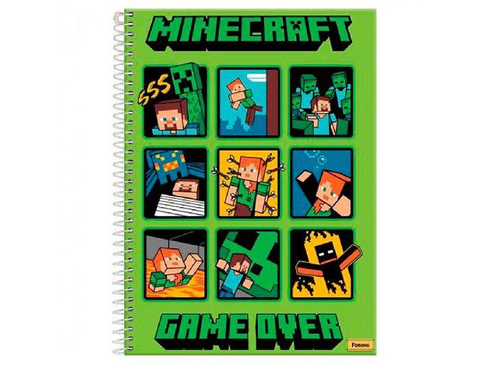 Caderno Espiral 1x1 Capa Dura Minecraft, 96 Fls. Pct. C/4 Unidades - Foroni
