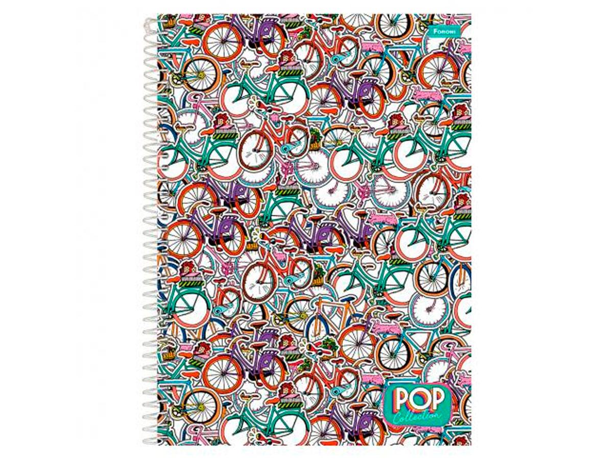 Caderno Espiral 1x1 Capa Dura Pop Collection, 96 Fls. Pct. C/4 Unidades - Foroni