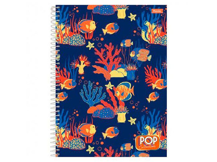 Caderno Espiral 1x1 Capa Dura Pop Collection, 96 Fls. Pct. C/4 Unidades - Foroni