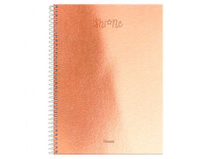 Caderno Espiral 1x1 Capa Dura Shine, 80 Fls. Pct. C/4 Unidades - Foroni
