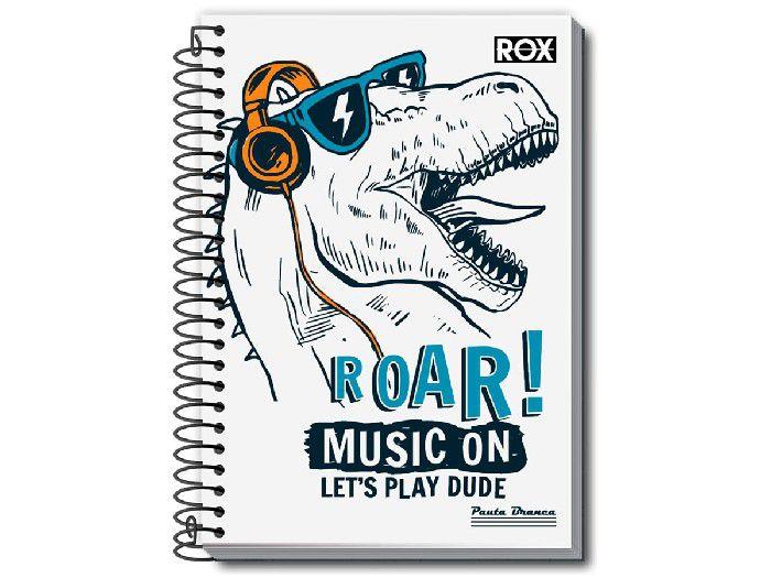 Caderno Espiral 1x1 Rox 96 Fls. Pct. C/ 5 Unidades - Pauta Branca