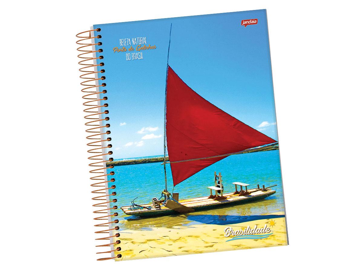 Caderno Espiral 20 x 1 Brasilidade Capa Dura, 400 Folhas, Pacote C/ 2 Unidades, Jandaia - 814877