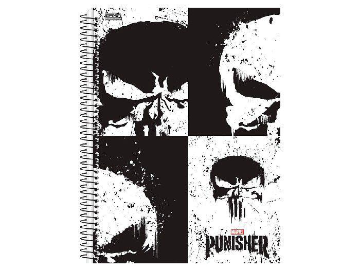 Caderno Espiral C.D. 10x1 Punisher, 200 Fls. Pct. C/ 4 Un. - São Domingos - 3637