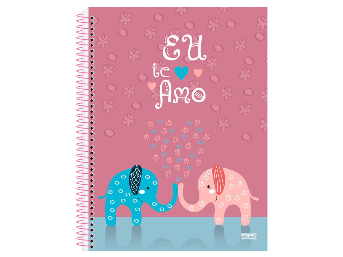 Caderno Espiral C.D. 1x1 Eu Te Amo, 96 Fls. Pct. C/ 4 Un. - São Domingos - 4386