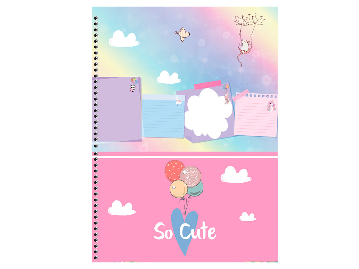 Caderno Espiral C.D. 1x1 So Cute, 96 Fls. Pct. C/ 4 Un. - São Domingos - 3477