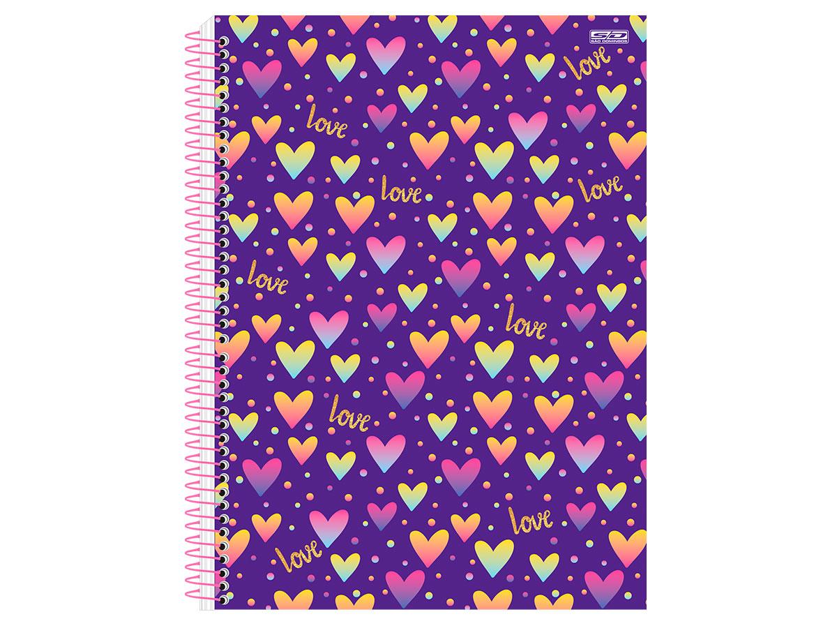 Caderno Espiral C.D. Love 10x1, 200 Fls. Pct. c/ 4 Un. - São Domingos - 3441