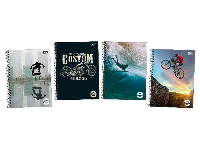 Caderno Espiral CD Universitário 10X1  Pepper Masc. 160Fls, Pct. C/4 Un. Mod. Sort. Tilibra - 159883