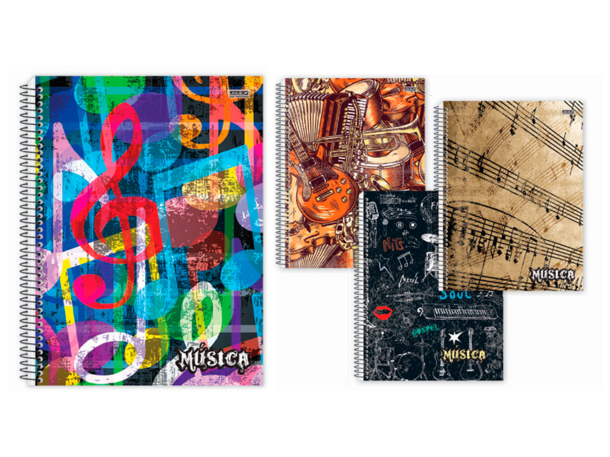 Caderno Espiral Música, 96 Fls. Pct. C/ 5 Un. - São Domingos - 4429