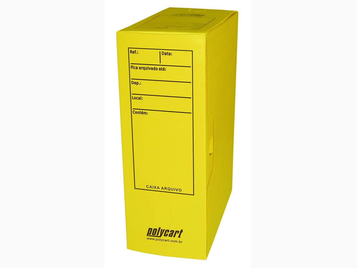 Caixa Arquivo Comercial, Com Impressão e Trava, Pacote Com 10 Unidades, Polycart - Amarelo - 4007AM