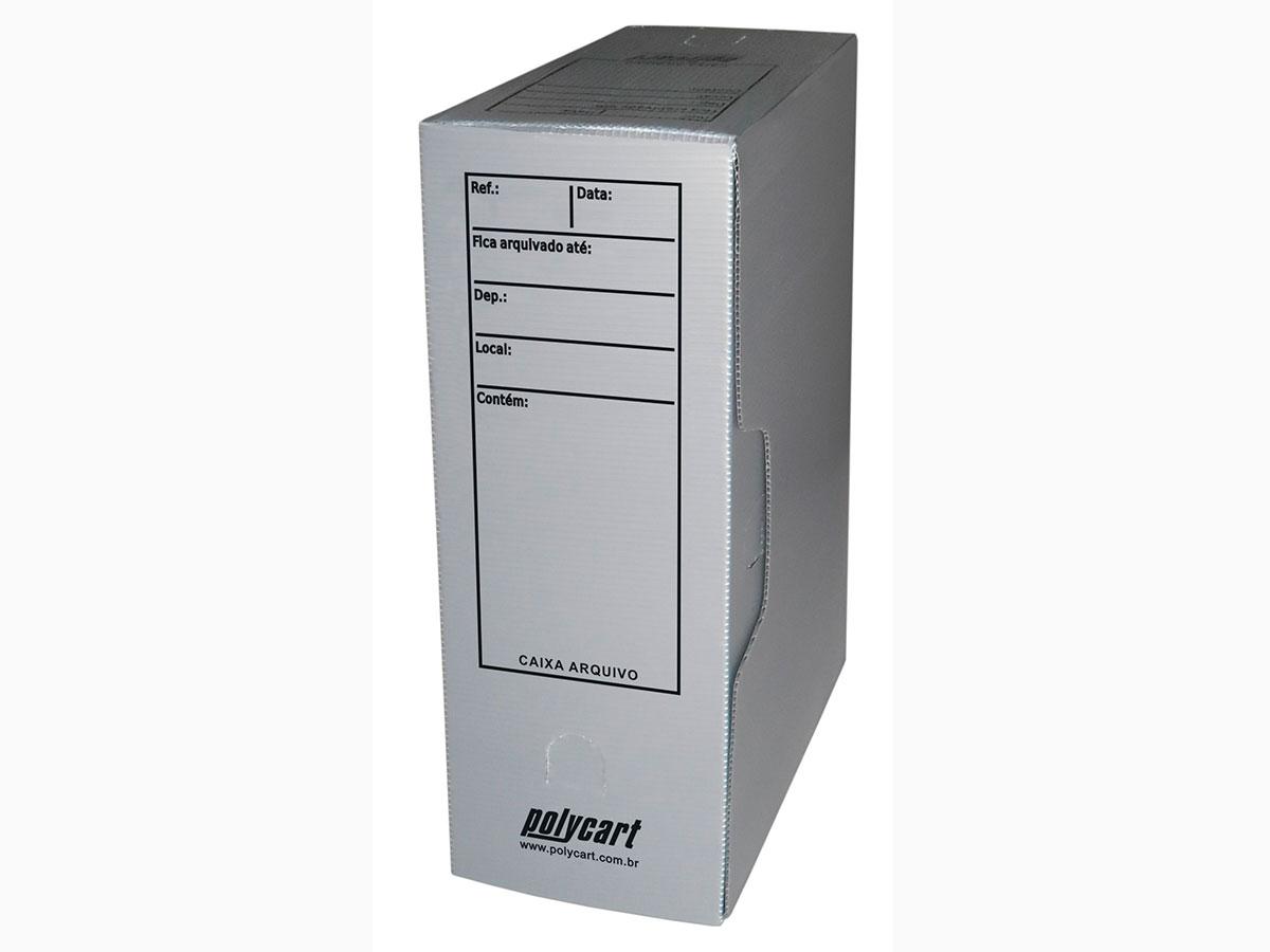 Caixa Arquivo Comercial, Com Impressão e Trava, Pacote Com 10 Unidades, Polycart - Cinza - 4007CZ