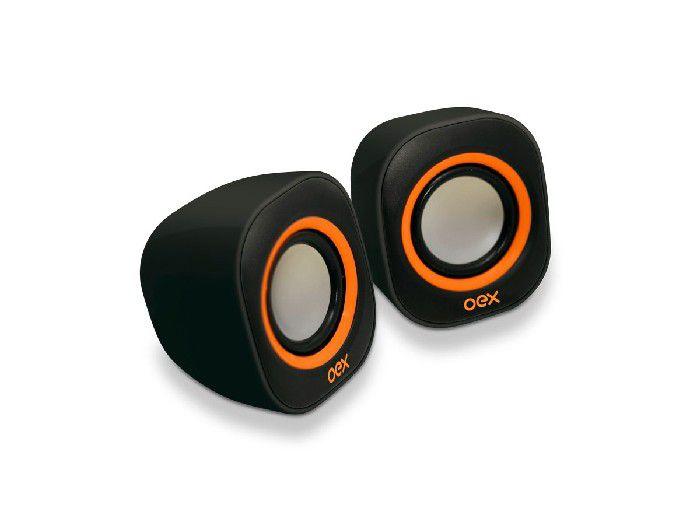 Caixa de Som Mini 2.0 8W Oex Speaker Round SK100 Preto/Laranja