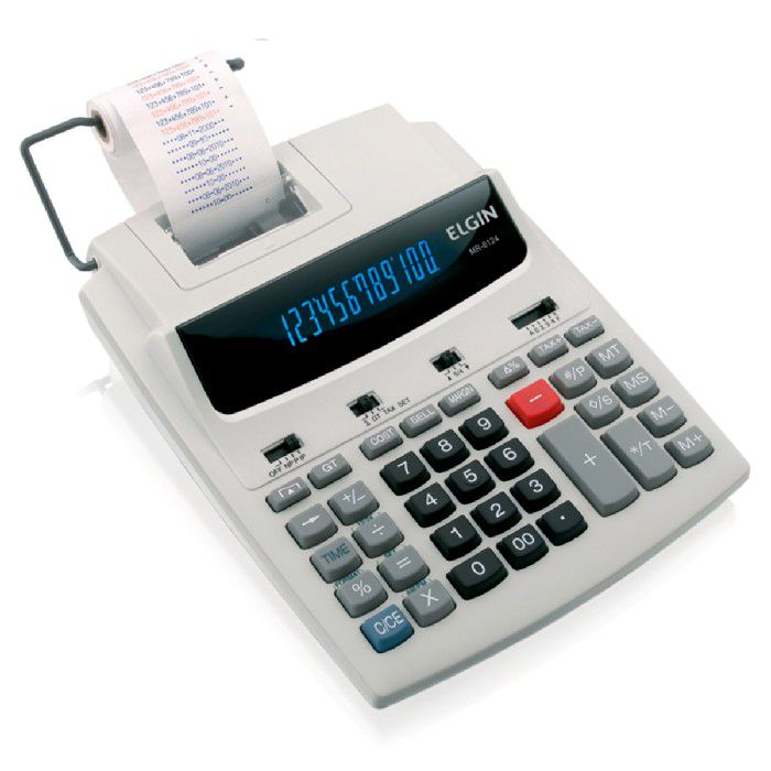 Calculadora de Mesa Elgin MR 6124 com Bobina 12 Dígitos Bivolt Fluorescente Bicolor - 42MR61240000