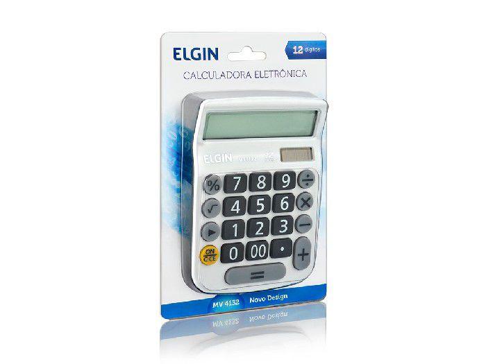 Calculadora de Mesa MV-4132, 12 Dígitos Grandes e Célula Solar, Elgin - Branca - 42MV41320000