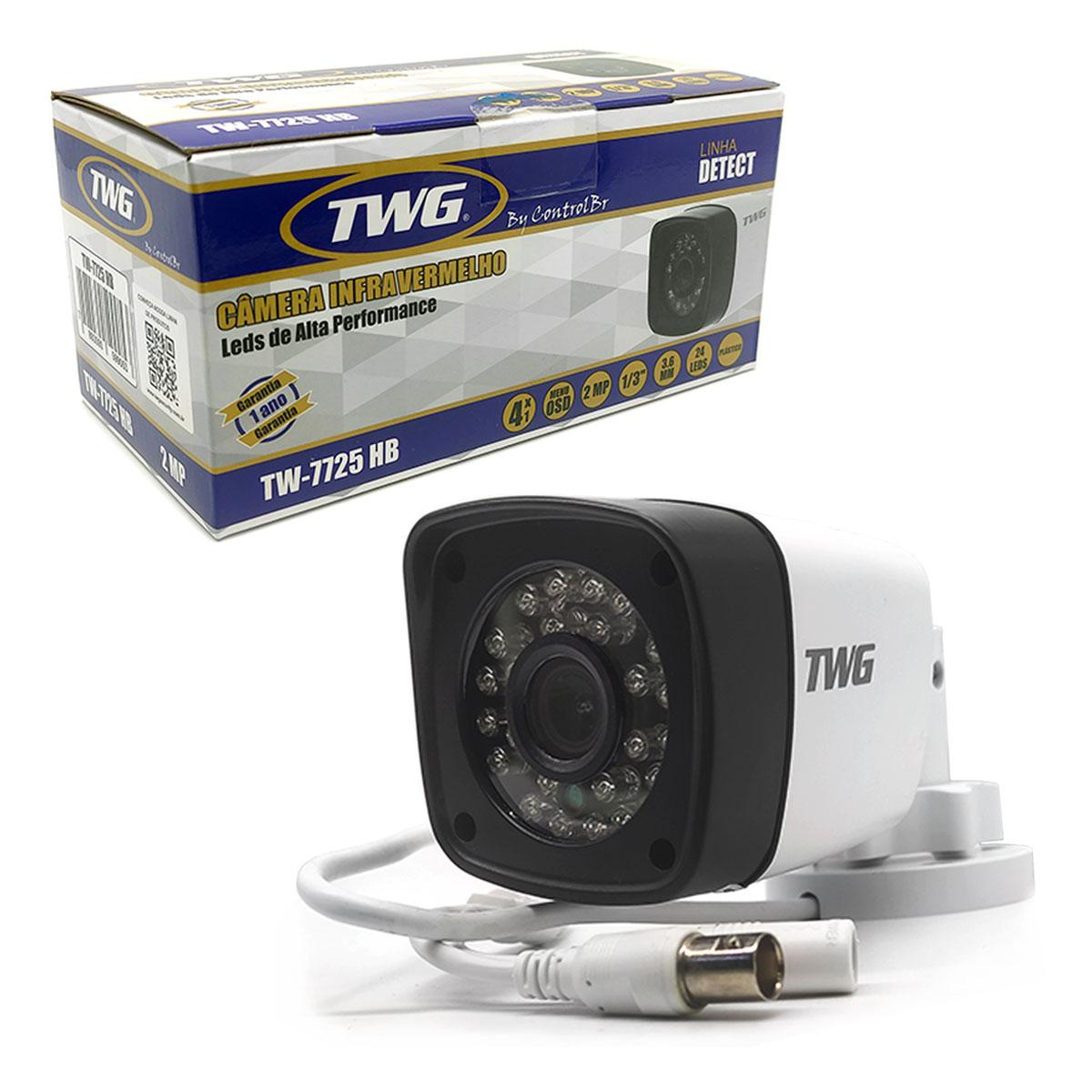 Câmera Bullet TWG TW-7725 HB, Full HD, 4x1, 2MP, 1/3, 3.6mm, 24 Leds, IP66 - DETECT