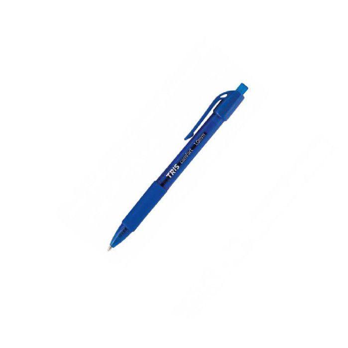 CANETA ESF COMFORT RETRATIL TRIS 1.0MM AZUL CX 12-UN - 684536