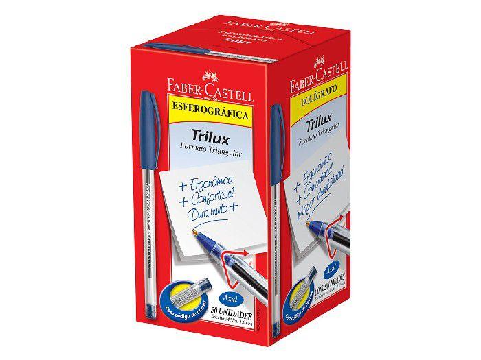 Caneta Esferográfica 1.0 mm Trilux Media, Caixa C/50 Unidades, Faber Castell - Azul - 032/AZ