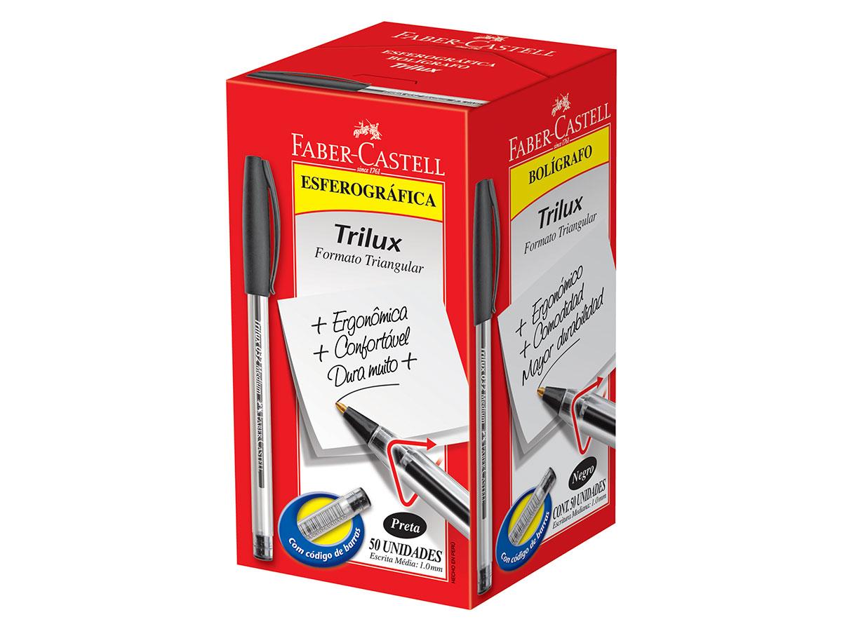 Caneta Esferográfica 1.0 mm Trilux Media, Caixa C/50 Unidades, Faber Castell - Preta - 032/PR