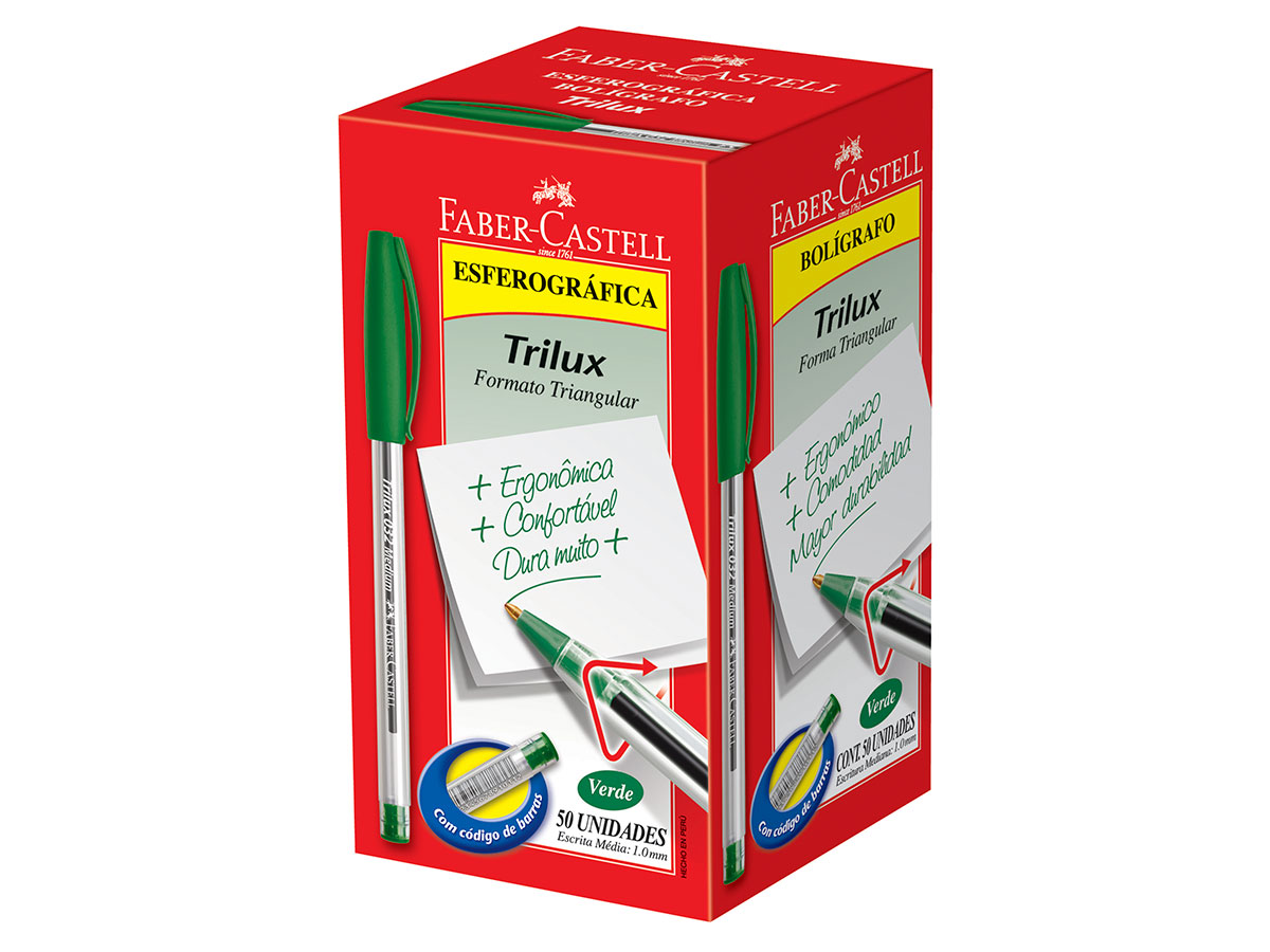 Caneta Esferográfica 1.0 mm Trilux Média, Caixa C/ 50 Unidades, Faber Castell - Verde  - 032/VD