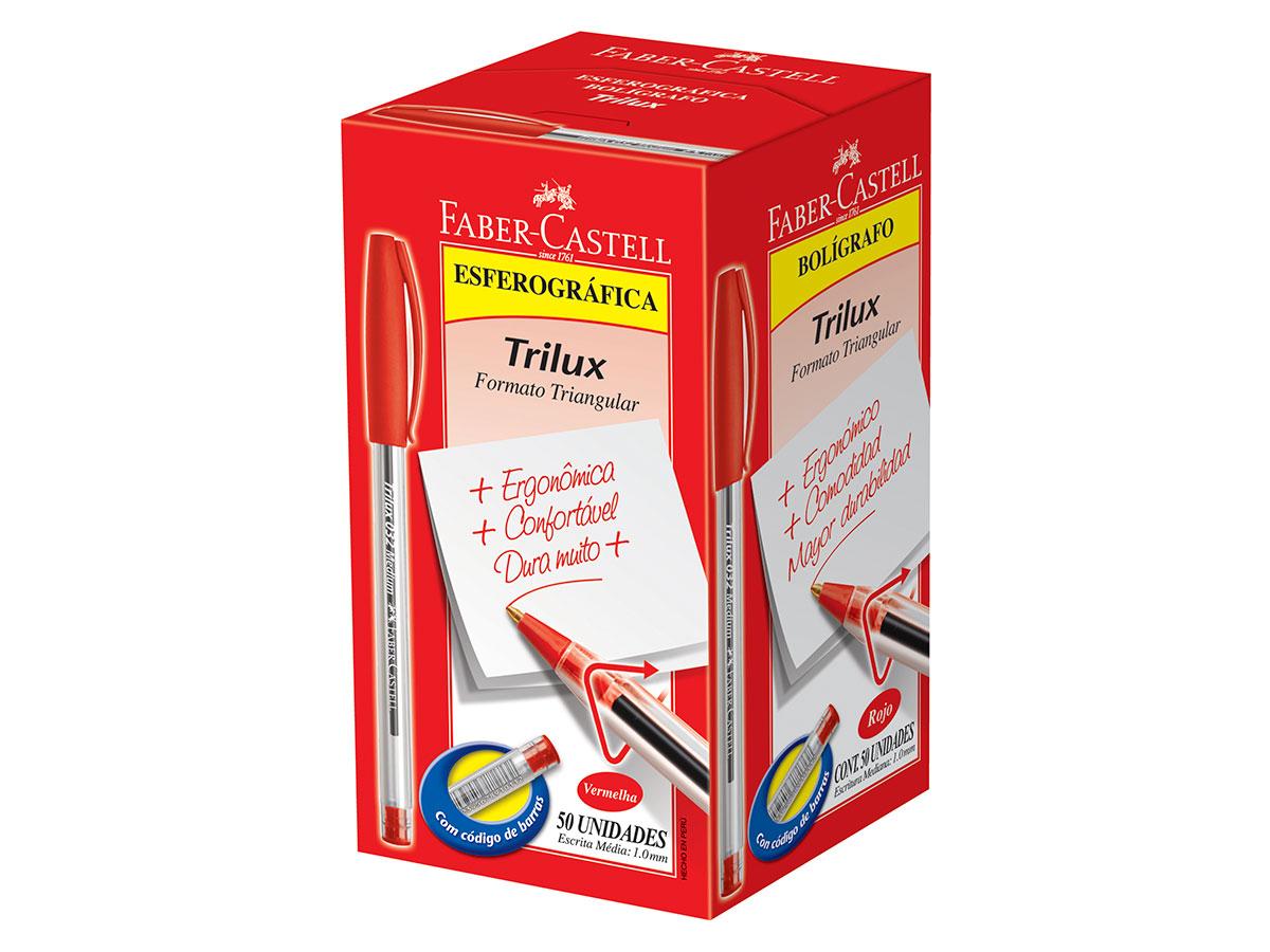 Caneta Esferográfica 1.0 mm Trilux Média, Caixa C/ 50 Unidades, Faber Castell - Vermelha - 032/VM