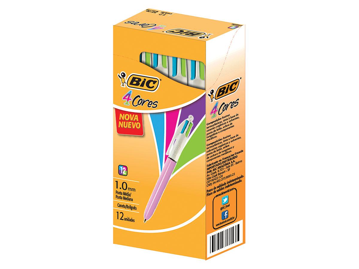Caneta Esferográfica 4 Cores Fashion 1.0mm, Corpo Rosa, Caixa C/ 12 Unidades - Bic - 930207