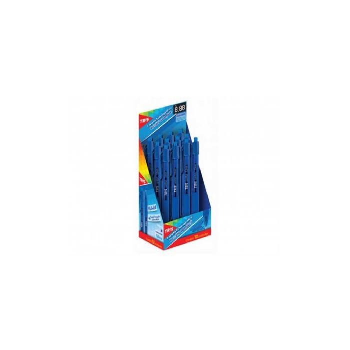 Caneta Esferográfica Comfort Retratil 1.0mm Azul Caixa Com 12 Unidades Tris - 684536