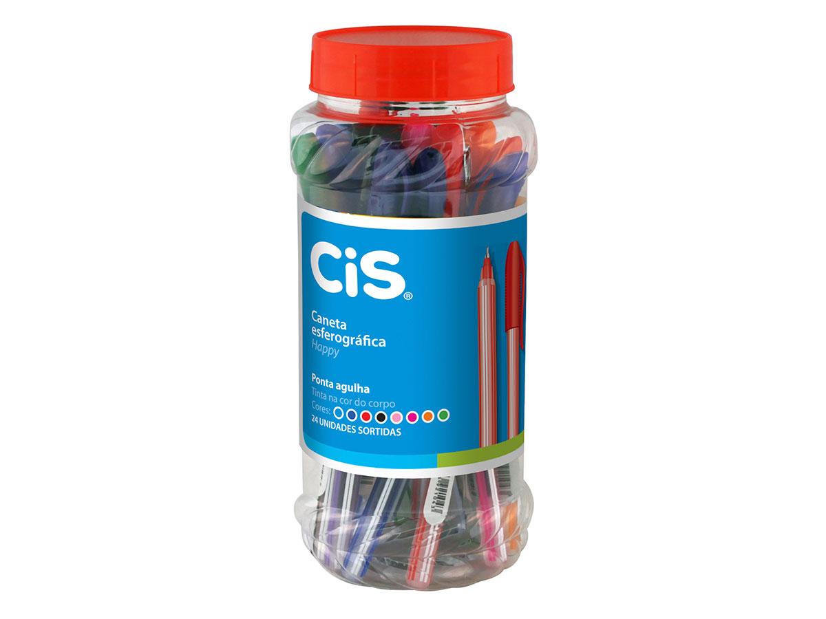 Caneta Esferográfica Happy 0.7 mm, Cores Sortidas, Pote Com 24 Unidades, Cis - 344600