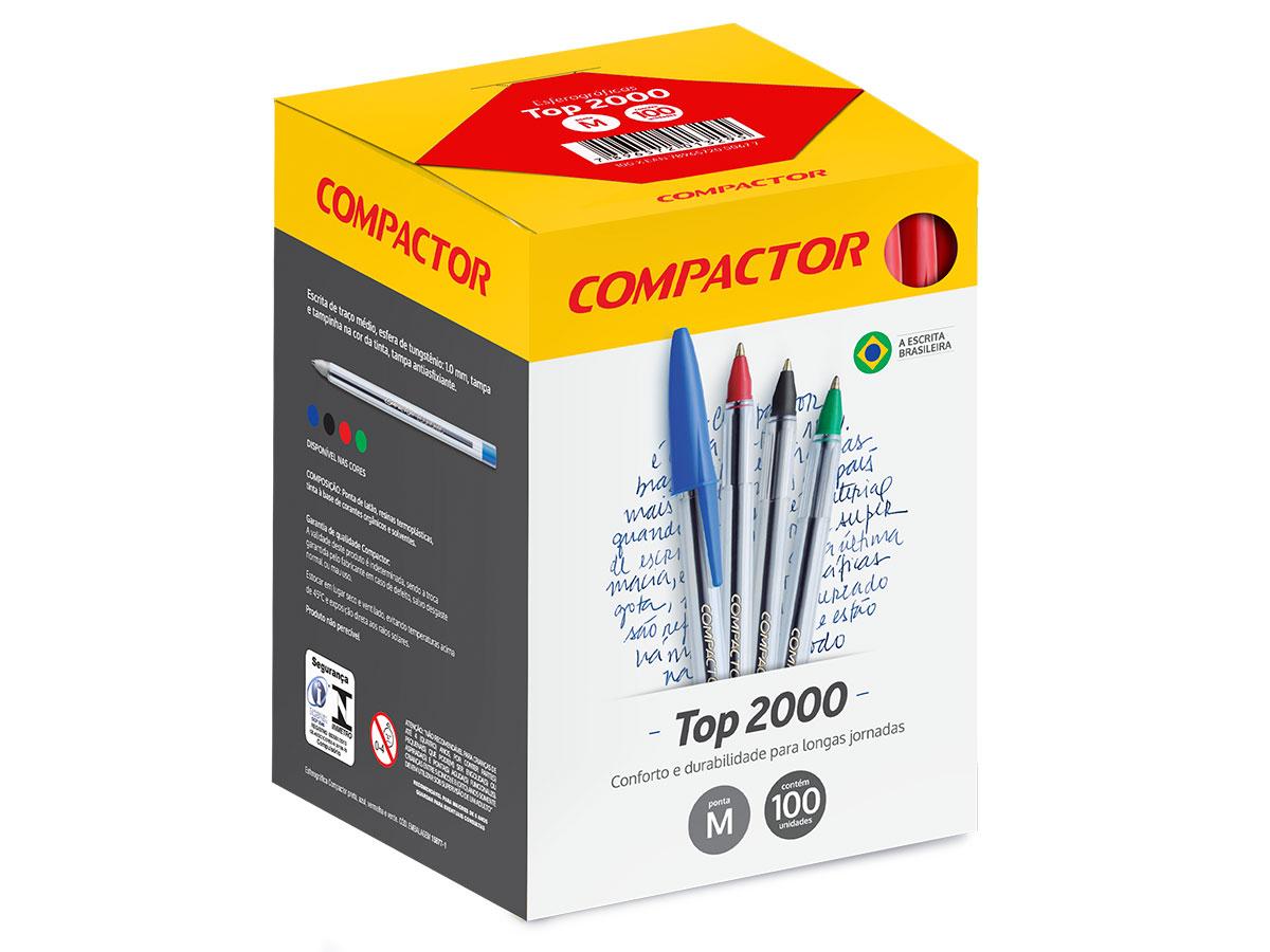 Caneta Esferográfica Top 2000, Caixa C/ 100 Unidades, Compactor - Vermelha
