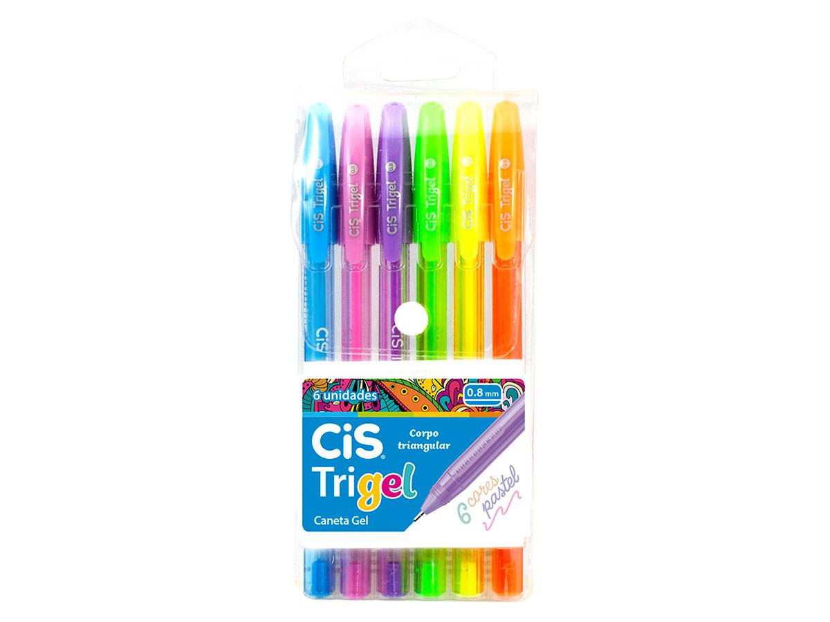 Caneta Gel Trigel 0.8mm Pastel, Blister 6 Cores - Cis - 576600