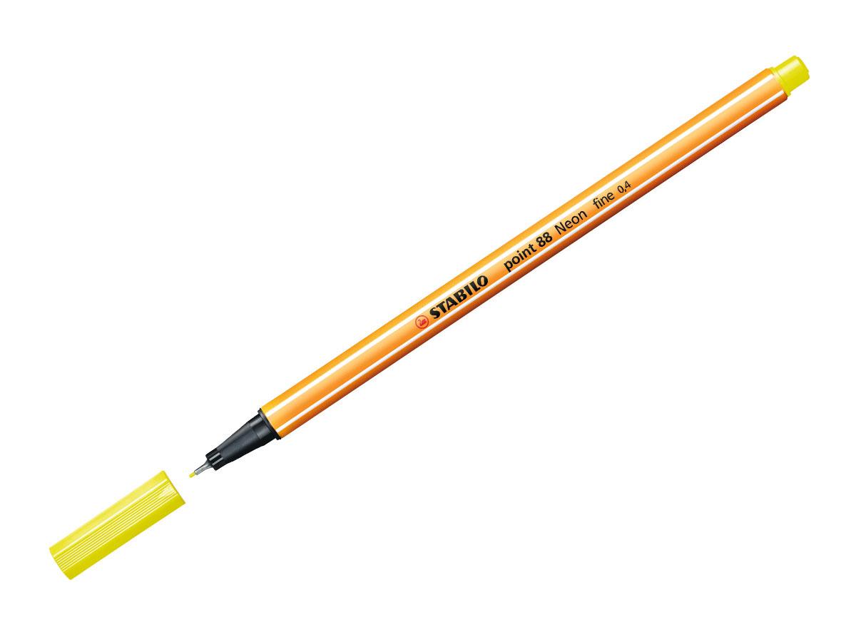 Caneta Hidrográfica Point 88, Caixa Com 10 Unidades, Stabilo - Amarelo Neon - 469200