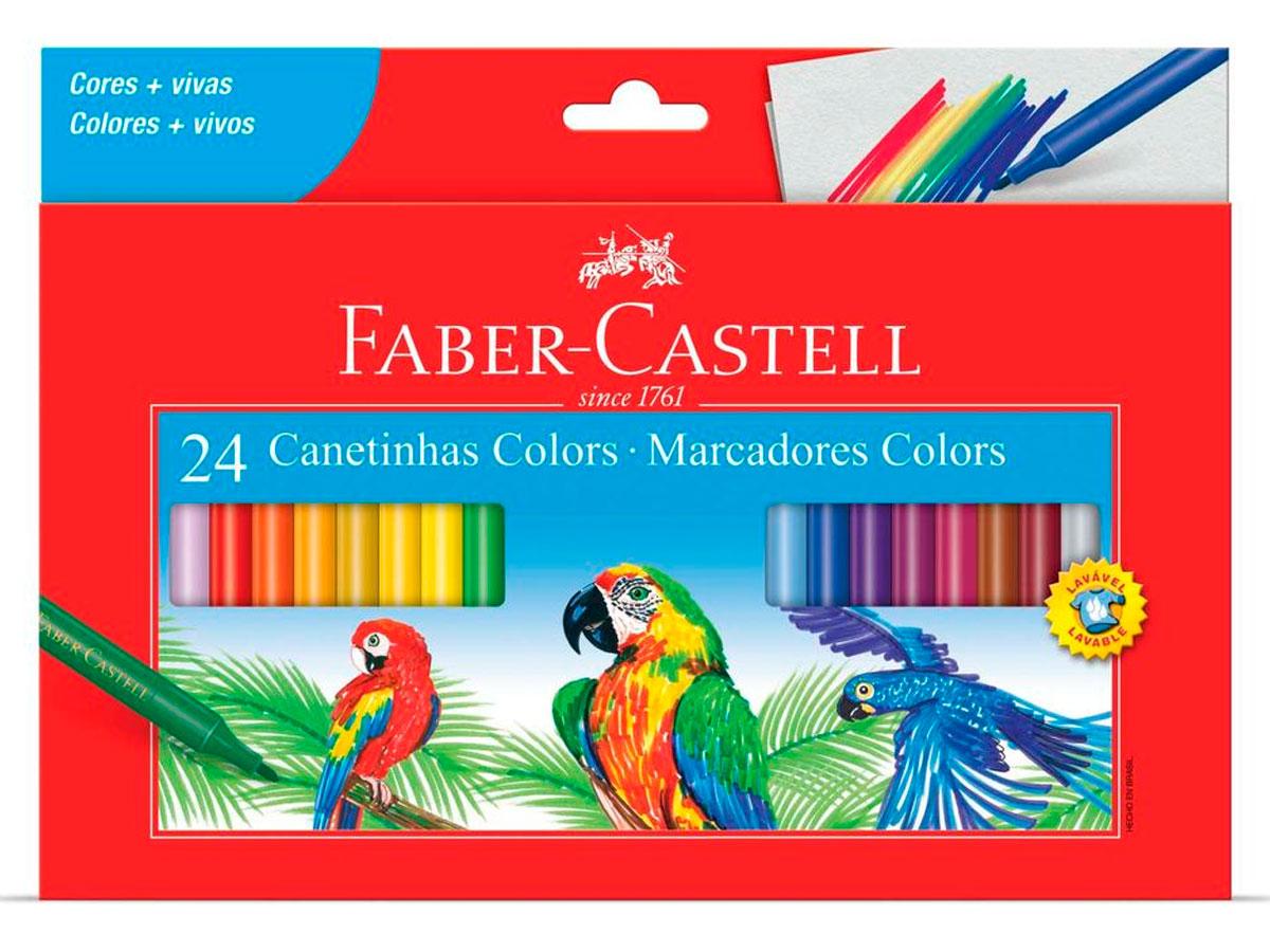 Caneta Hidrográfica Prestocolor 24 Cores, Pct. c/ 6 Caixinhas - Faber-Castell - 150124CZF