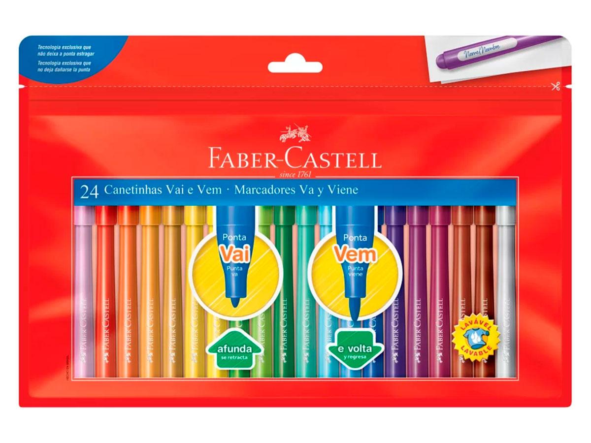 Caneta Hidrográfica Vai e Vem 24 Cores, Pct. C/ 3 Caixinhas - Faber Castell -  150124WZF