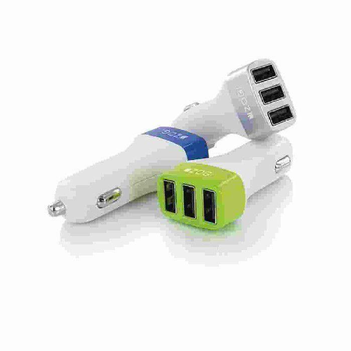 Carregador Veicular Azul Zogi 3 Entradas USB