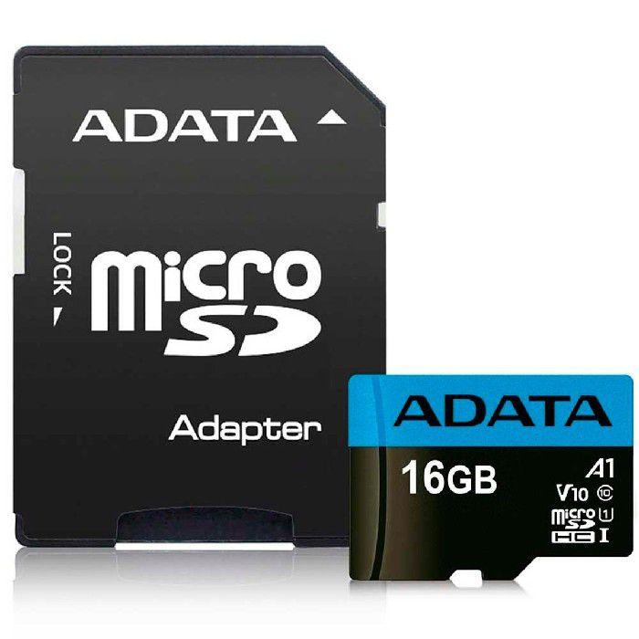 Cartão de Memoria Adata MicroSDHC 16GB Classe 10 com Adaptador - AUSDH16GUICL10