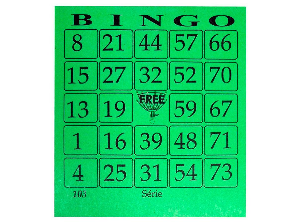 Cartela de Bingo Free Verde, 100 Folhas, Pacote C/ 15 Blocos - 11