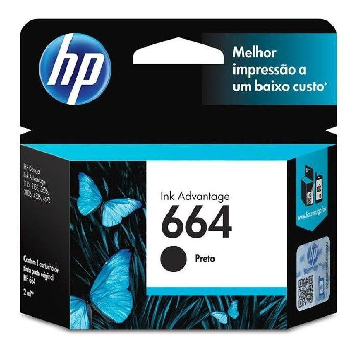 Cartucho HP 664 Preto F6V29AB HP Original 2,0 ML