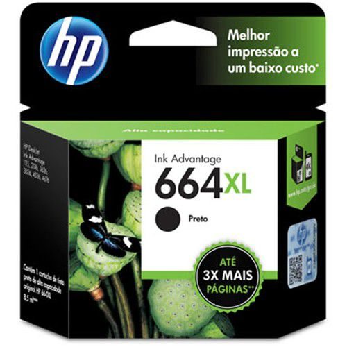 Cartucho HP 664XL preto F6V31AB