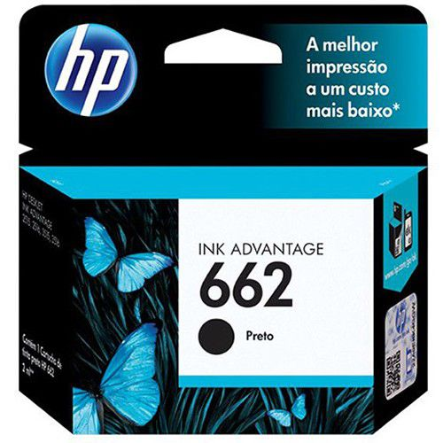 Cartucho HP Tinta 662 Preto CZ103AB