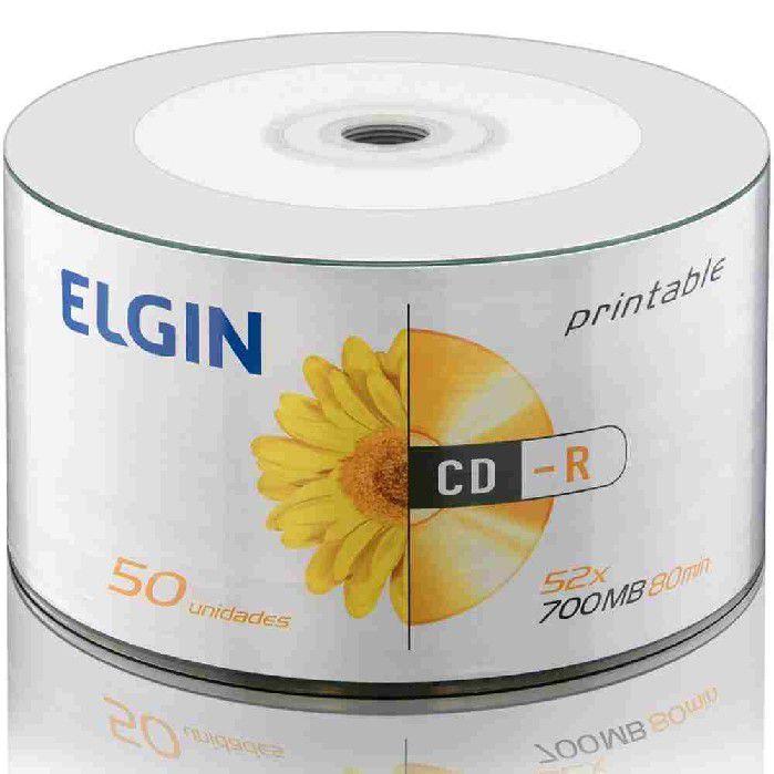 Mídia CD-R Printable 52X, 700MB, 80 Minutos, Contém 50 Unidades, Elgin - 82201