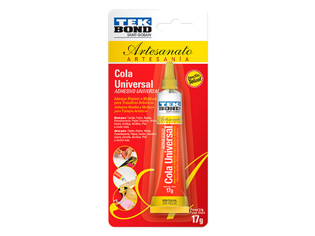 Cola Universal Artesanato, 17 g, Contém 12 Unidades, Tek Bond