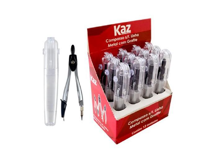 Compasso Linha Metal Com Grafite Contém 12 Unidades Kaz - 728895