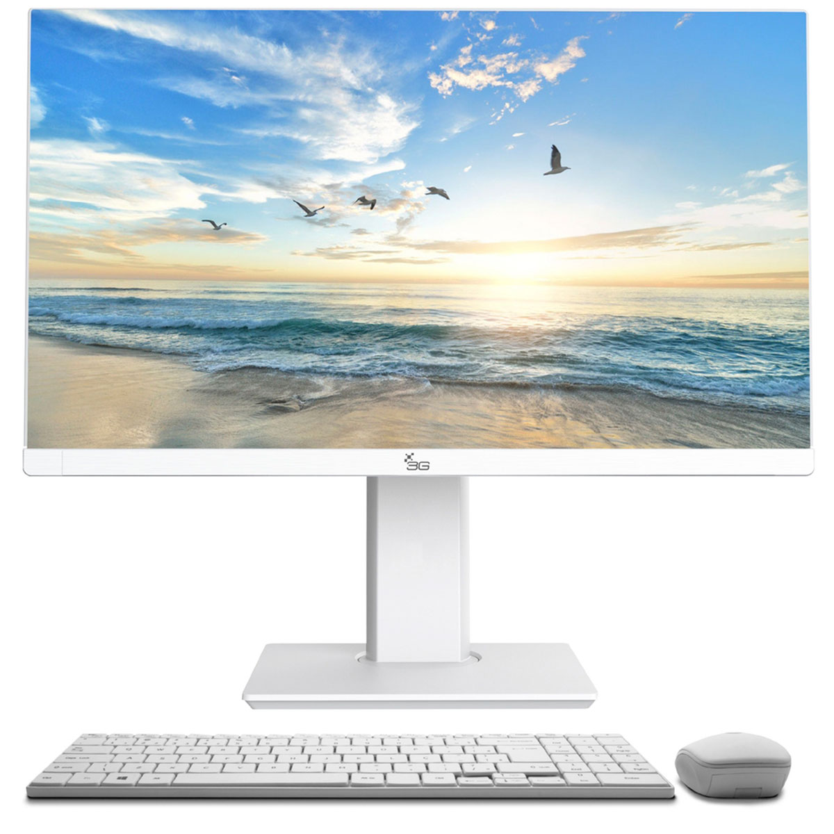 """Computador All In One 3Green Tela 24"""" Intel Core I3 2.1GHz,4GB,SSD 120GB, Linux, Alt/Rotação, Branco"""