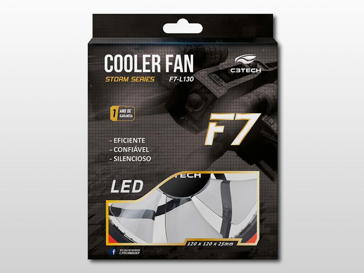Cooler Fan C3Tech Storm F7-L130RD, 120mm, 30led, Vermelho