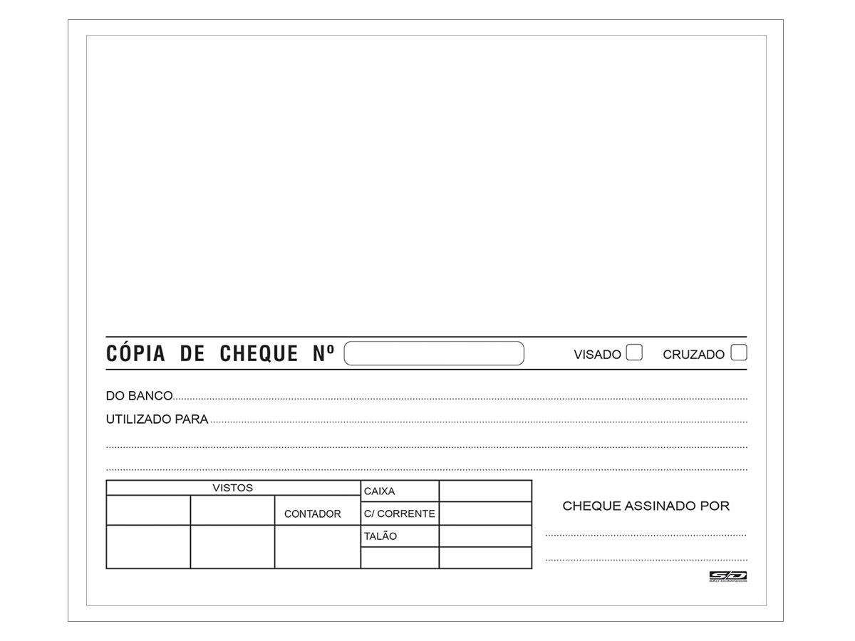 Cópia de Cheque Branca, 100 Folhas, Contém 10 Unidades, São Domingos - 6313