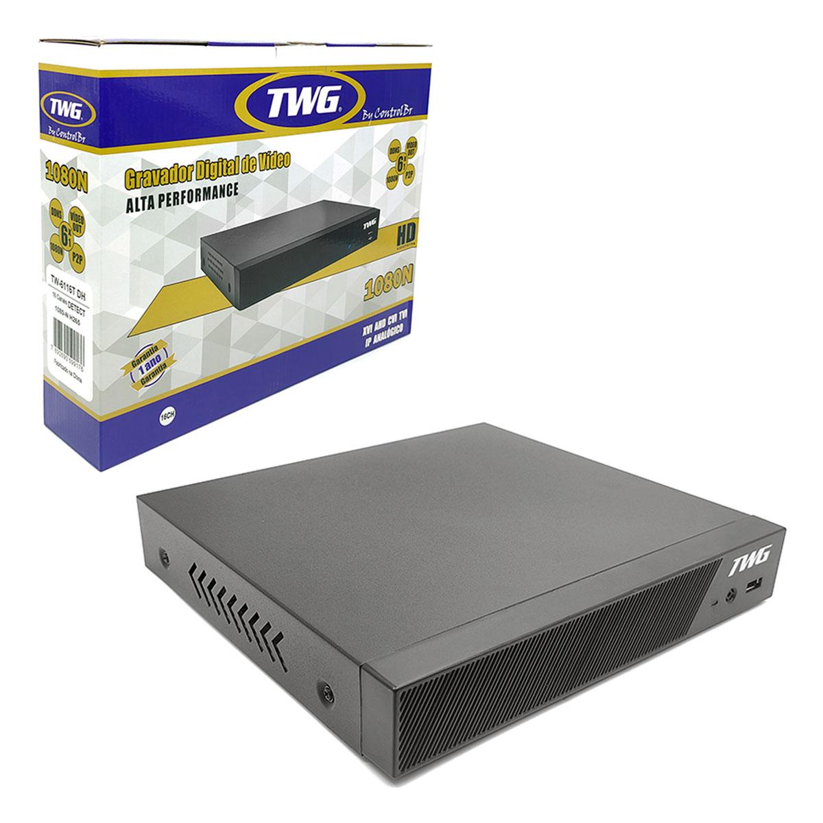 DVR TWG 16 Canais, 1080N, Net IP e Onvif, HDMI, 6x1, H.265+, Modo Detect, Full HD - TW-6116T DH