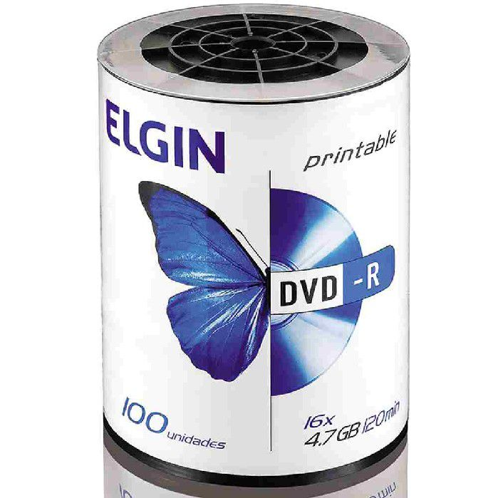 Mídia DVD-R Printable 16X, 4.7GB / 120 Minutos, Contém 100 Unidades, Elgin - 82068