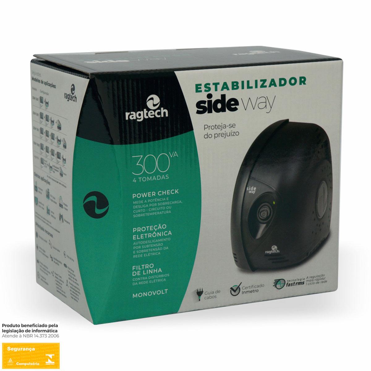 Estabilizador Ragtech Sideway 300VA, 115/115, 4 Tomadas - 20SDW5301