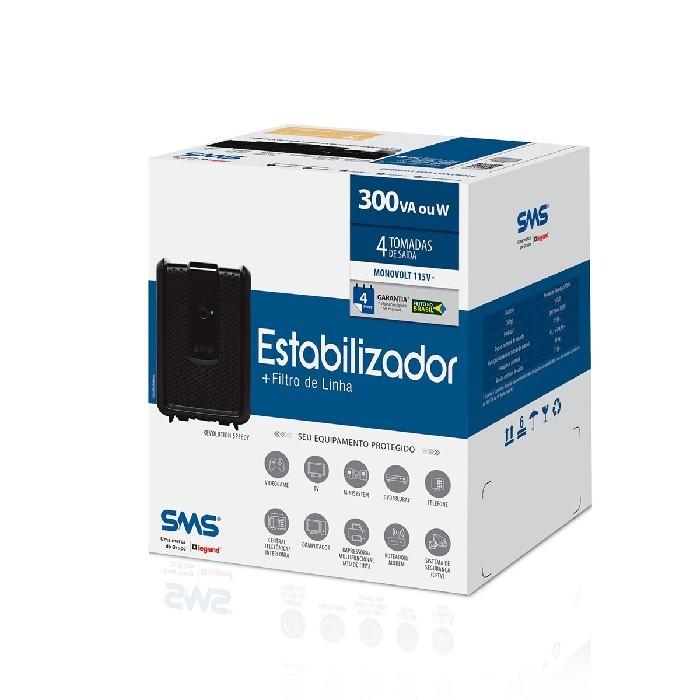 Estabilizador SMS Revolution Speedy 300VA, Entrada 115/127V, Saída 115V, 4 Tomadas - 16520