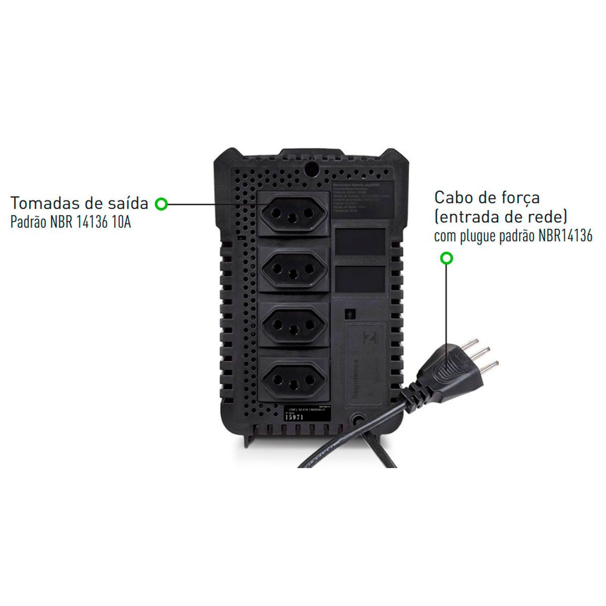 Estabilizador SMS Revolution Speedy 500VA, Entrada 115/127V, Saída 115V, 4 Tomadas - 15971