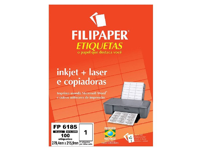 Etiqueta Inkjet+Laser FP 6185, 279,4x215,9mm, 1 ETIQ. POR FL./ 100 ETIQ./ 100 FL./ Filipaper 04411